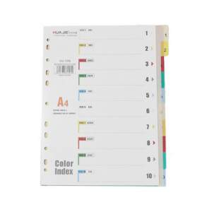 File Separator Paper - A4, Indexed 1 to 10, Assorted Color